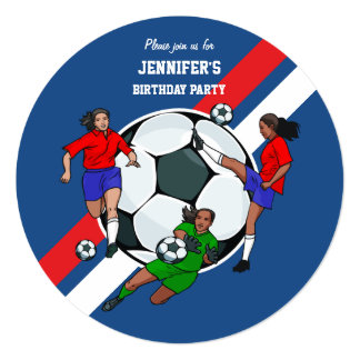 Girls Soccer Ball Birthday Party 13 Cm X 13 Cm Square Invitation Card
