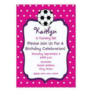 Girls Soccer Birthday Invite- Pink With Purple 13 Cm X 18 Cm Invitation Card