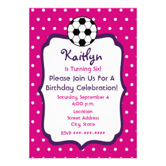 Girls Soccer Birthday Invite- Pink With Purple