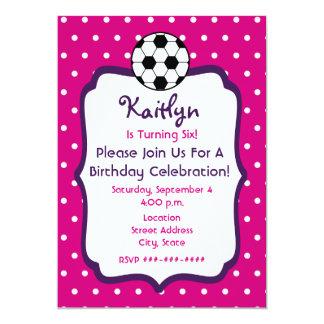 Girls Soccer Birthday Invite- Pink With Purple 13 Cm X 18 Cm Invitation Card