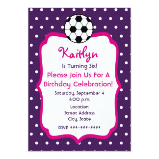 Girls Soccer Birthday Invite- Purple With Pink 13 Cm X 18 Cm Invitation Card