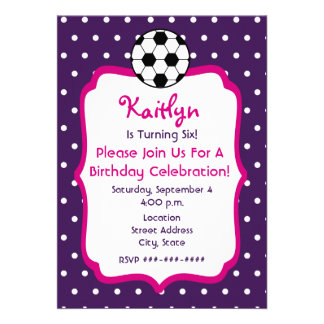 Girls Soccer Birthday Invite- Purple With Pink