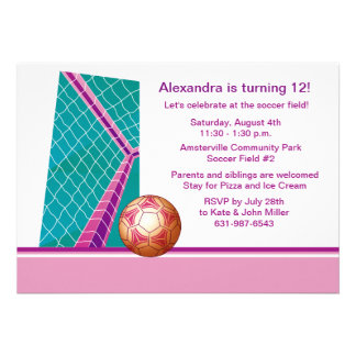 Girl's Soccer - Birthday Party  Invitation