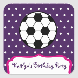 Girl's Soccer Birthday Party - Purple W Pink Square Sticker