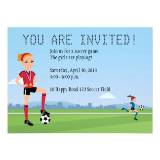 Girl's Soccer Game Invitation with Illustration
