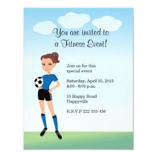 Girl's Soccer Invitation with Illustration