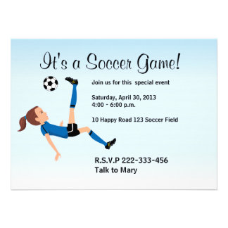 Girl's Soccer Invitation with Illustration