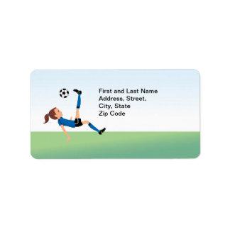 Girl's Soccer Kick Address Label