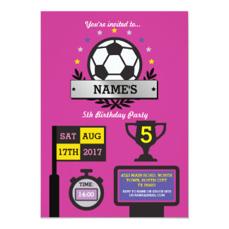 Girls Soccer Party Birthday Sports Pink Invite