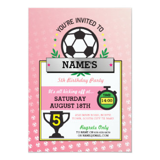Girls Soccer Party Sports Birthday Pink Invites
