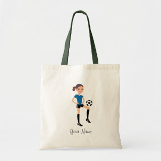 Girl's Soccer Player Personalised Budget Tote Bag