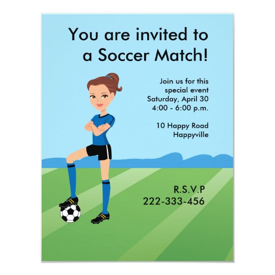 Girl's Soccer Player Personalised Card