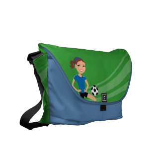 Girl's Soccer Player Personalised Commuter Bags