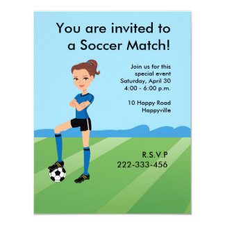 Girl's Soccer Player Personalized 11 Cm X 14 Cm Invitation Card