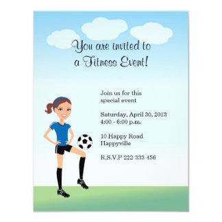 Girl's Soccer Player Personalized 11 Cm X 14 Cm Invitation Card