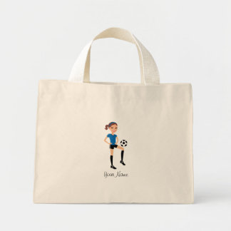 Girl's Soccer Player Personalized Mini Tote Bag