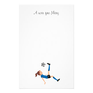 Girl's Soccer Player Personalized Stationery