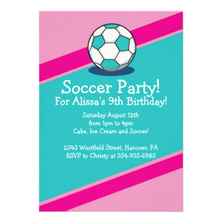 Girls Soccer Themed Birthday Party Invitations