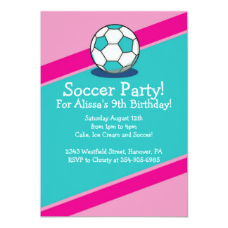 Girls Soccer Themed Birthday Party Invitations