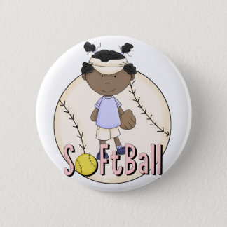 Girls Softball African American t-shirts and Gifts 6 Cm Round Badge