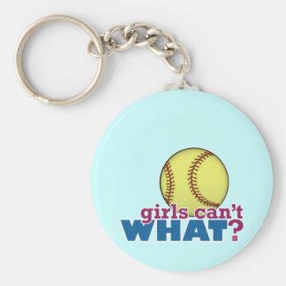 Girls Softball Basic Round Button Key Ring