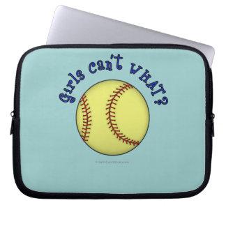 Girls Softball-Blue Laptop Computer Sleeve