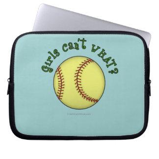 Girls Softball-Green Text Computer Sleeve