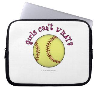 Girls Softball-Pink Text Laptop Sleeve