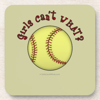 Girls Softball-Red Text Beverage Coasters