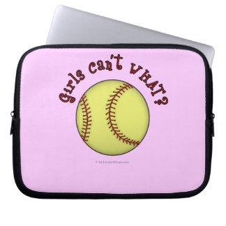 Girls Softball-Red Text Laptop Computer Sleeve
