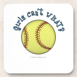 Girls Softball-Sky Blue Text Beverage Coasters