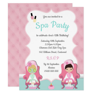 Girls Spa Invite Pamper party Make up invitation