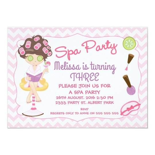 Girls Spa Party Chevron Birthday Invitation