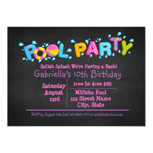 Girls Splish Splash  Come To Our Bash Pool Party Invitation