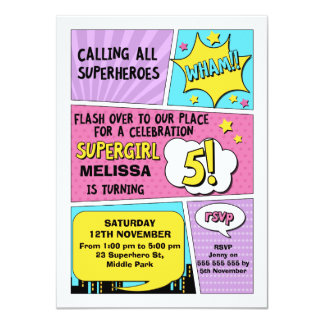 Girls Superhero 5th Birthday Invitation