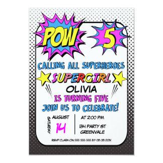 Girls Superhero 5th Birthday Party Invitation