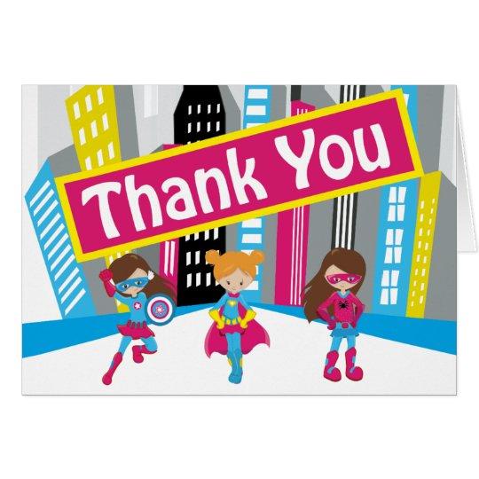 Girls Superhero Birthday Thank You Cards
