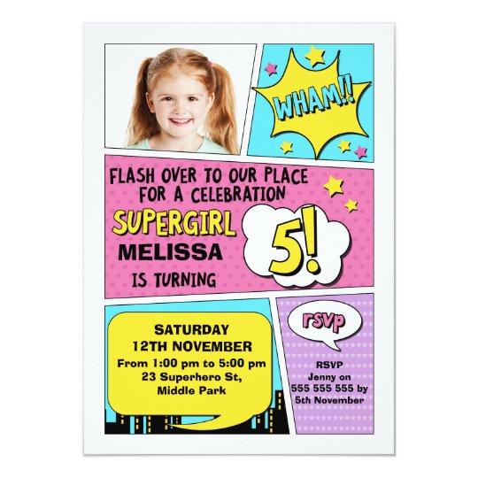 Girls Superhero Photo 5th Birthday Invitation