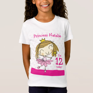 GIRLS T-SHIRT Age 12 princess 12th Birthday