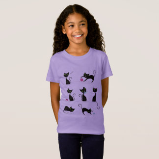 Girls t-shirt lavender with Kittens