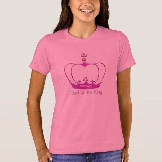 "Girls T-Shirt with a Hot Pink Crown ""Princess"""