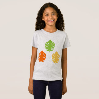 Girls t-shirt with big Exotic leaves