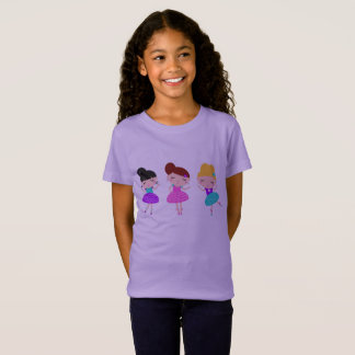 GIRLS t-shirt with dancing balerina  /   Lavender