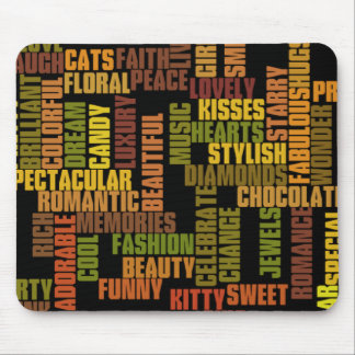 girls tags, girly words mouse pad