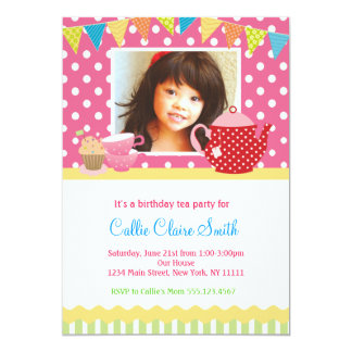 Girls Tea Party Birthday Invitations