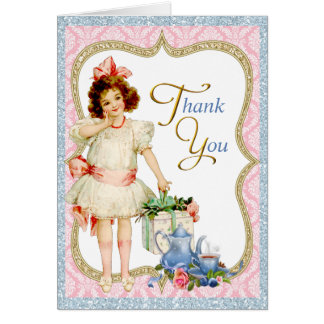 Girls Tea Party Thank You Card