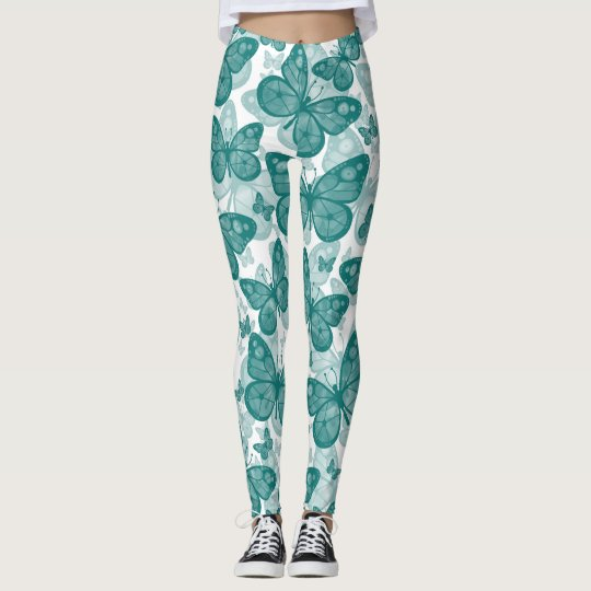 Girls Teal Butterfly Leggings