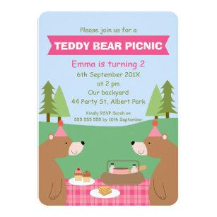 Picnic birthday invitations zazzle girls teddy bear picnic banner birthday invitation filmwisefo