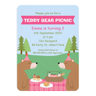 Girls Teddy Bear Picnic Banner Birthday Invitation