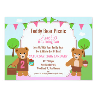 Girl's Teddy Bear Picnic Birthday Party Invitation
